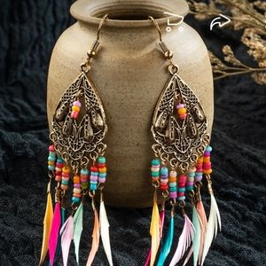 🌞NEW HADEMADE BOHEMIAN FEATHER DANGLE EARRINGS
